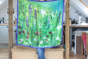 Summer Garden  Large 100% Silk Scarf  hand finished  Size: 90x90cm Taken from the original oil painting, the inspiration came from my garden.