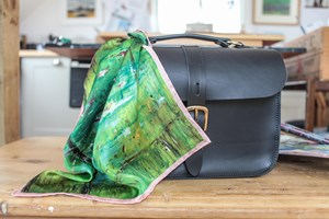 Lily Pond with border. Small 100% silk Scarf hand finished 35x35cm ideal for your handbag or top pocket Taken from my original Lily Pond Oil painting.
