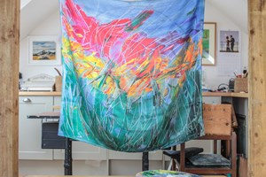 Vibrant Summer Garden Large 100% silk Scarf hand finished  size 90x90cm Taken from my original painting and used as my signature piece on all my artwork. Abstract Inspired by the garden.