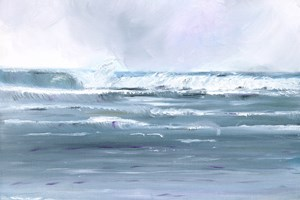 'Surf Rolling In' 47 x 56 cm Framed Oil on paper Giclée limited edition prints available