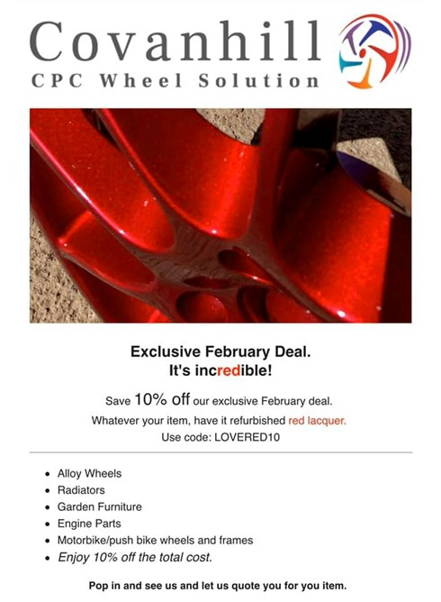 February Deal. Wheel refurb in red lacquer