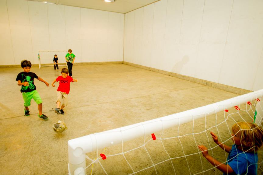 The huge indoor games room has activities for everyone- football, indoor hockey.