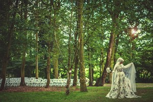 The bride in the woodland