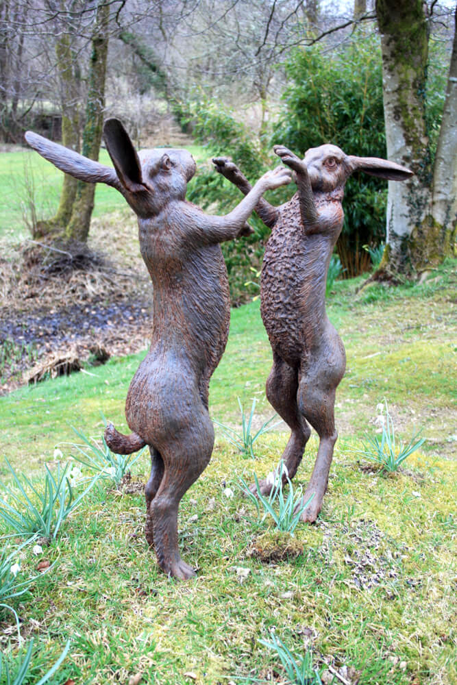 Boxing Hares front-view