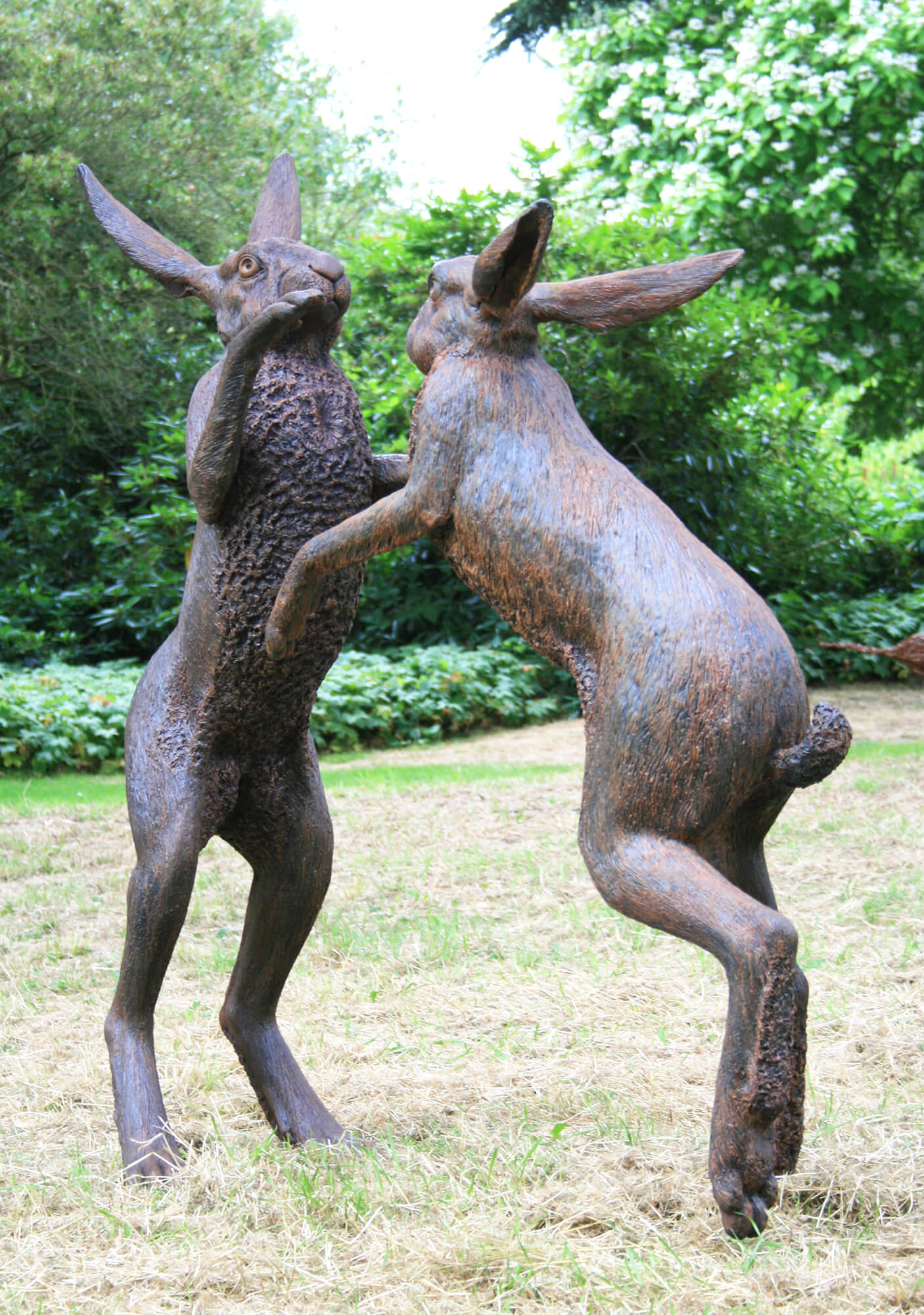 Large Boxing Hares front-view
