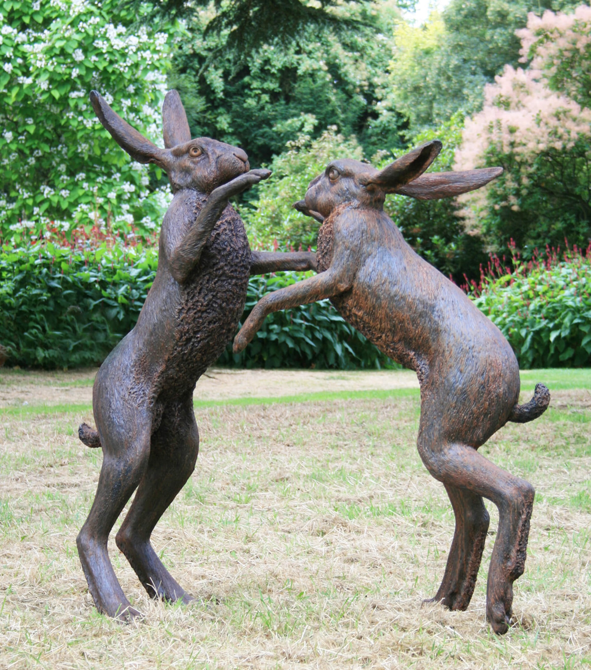 Large Boxing Hares side-view