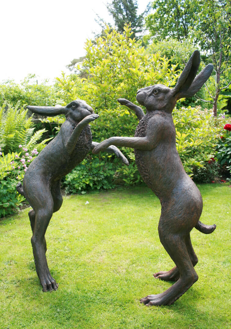 Large Boxing Hares back-view