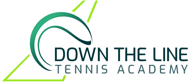 Down The Line Tennis logo | Tennis Academy | Ball on Line Logo