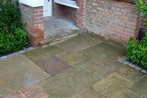 this picture shows the variety of colour tones of reclaimed york stone paving