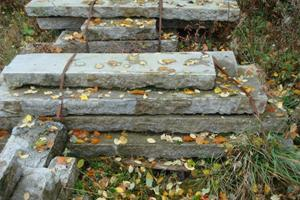 Reclaimed granite steps