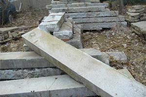120 metres of reclaimed granite steps, 300mm x 150mm in varying lengths.
