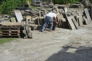 Sorting reclaimed York stone paving