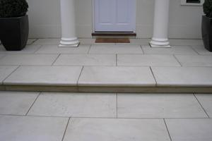 Sawn Yorkstone front door step and paving.