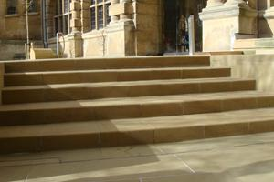 Yorkstone paving and full depth steps