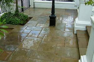 Beautifully laid random patten using reclaimed york stone paving