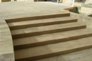 Main entrance with new solid yorkstone steps and paving.