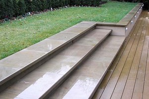 Yorkstone steps with a pencil round leading edge