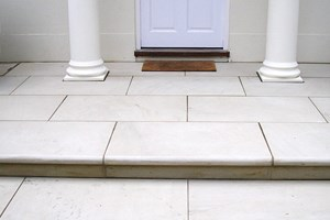 Yorkstone entrance with a bullnose leading edge