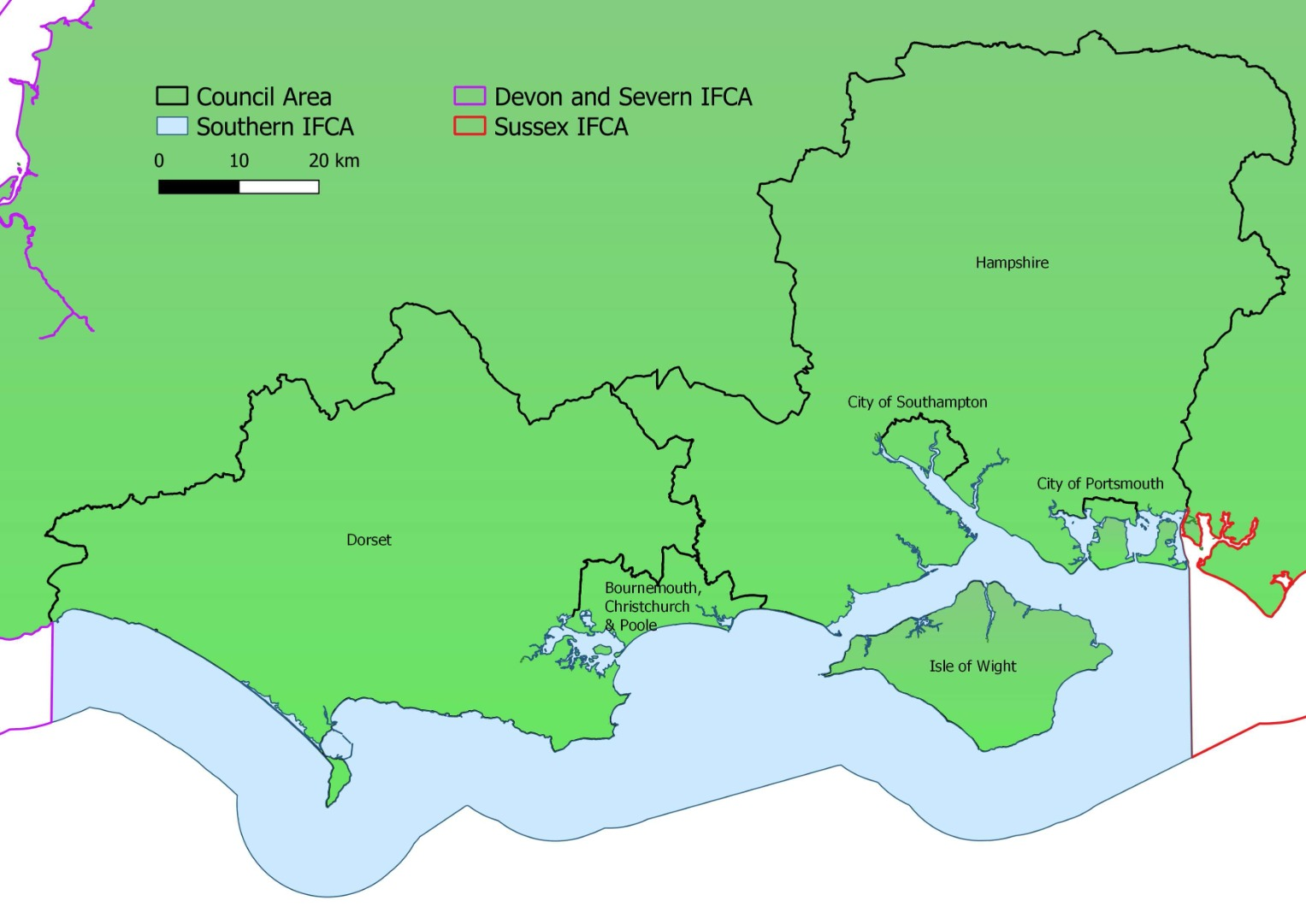 Southern IFCA | SIFCA | Covered District Map | South Coast of England