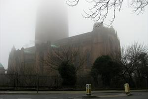 Liverpool Cathedral in mist