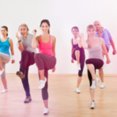 People exercising in aerostep class