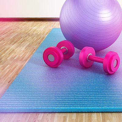 Exercise ball and weights for cardio blast class