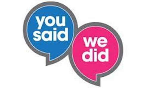 "Graphic showing ""YOU SAID, WE DID""  speech bubbles"