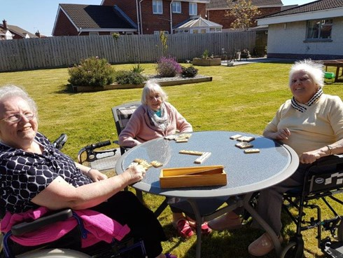 Residents enjoying the sunshine