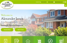 Alexander James Home Renovations Ltd - Electrical contractors website design by Toolkit Websites, professional web designers