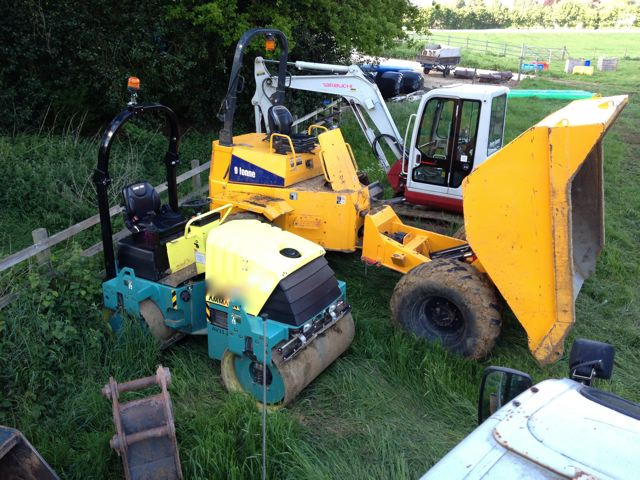 Mini digger, Dumper and Roller used for riding arena projects