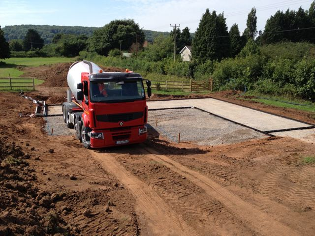 Concrete lorry delivering concrete for stable bases in Somerset