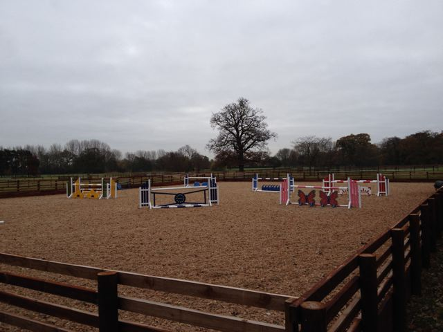 Equestrian riding arena with Waxed Sand fibre surface in Cambridgeshire