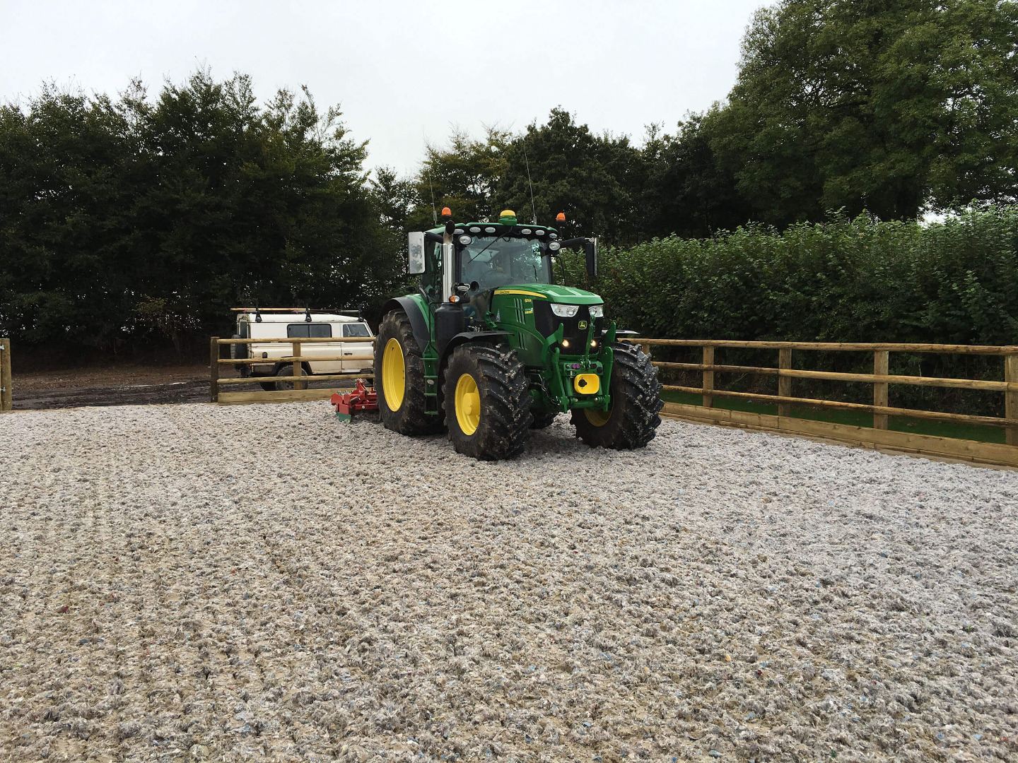 Fibres being Harrowed into sand surface on a 20m x 40m riding arena