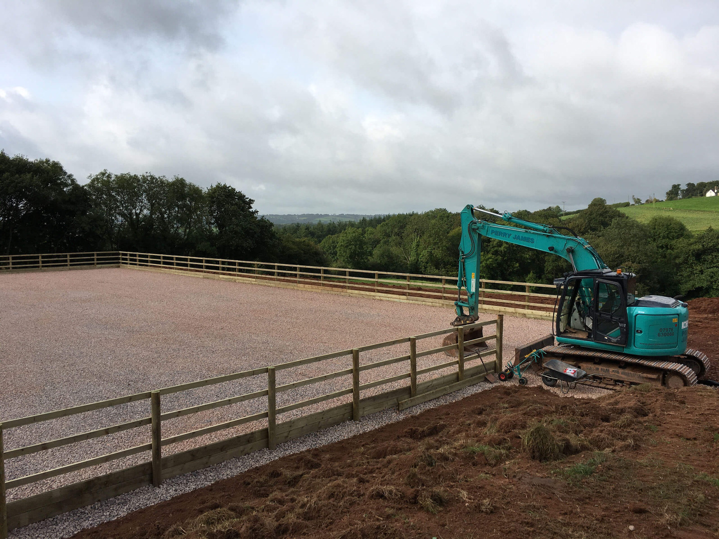 Stone surface and fencing installed on riding arena in Exmore Somerset