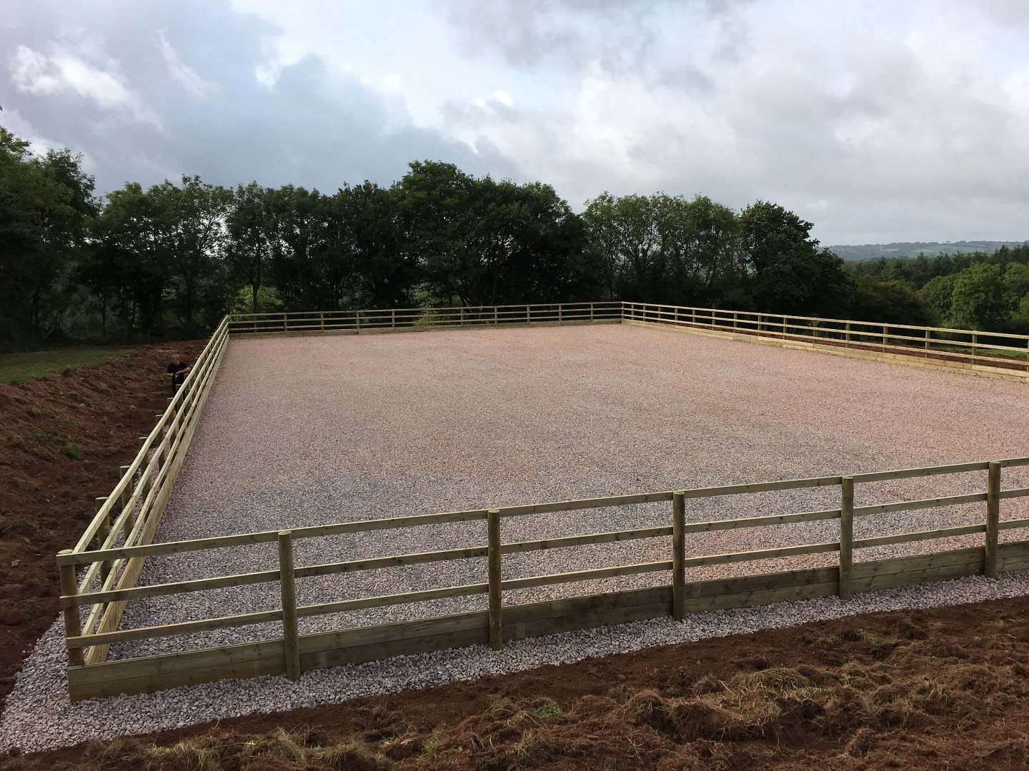 25m x 45m Riding arena with a sand and fibre surface in Somerset