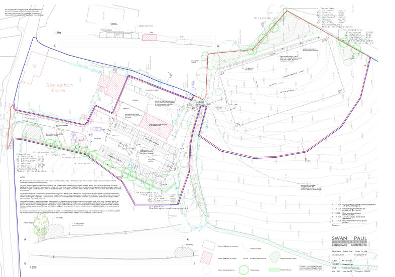 Architects drawings showing plan of Riding Arena in Somerset