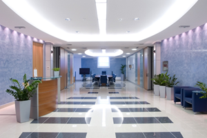 LED lighting installation in a reception area for a business