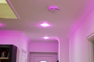 Colour changing LED downlights installation with Bluetooth connection