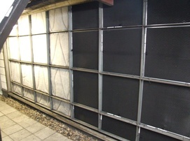 AHU filter bank with some protection using RABScreen air intake filter screens