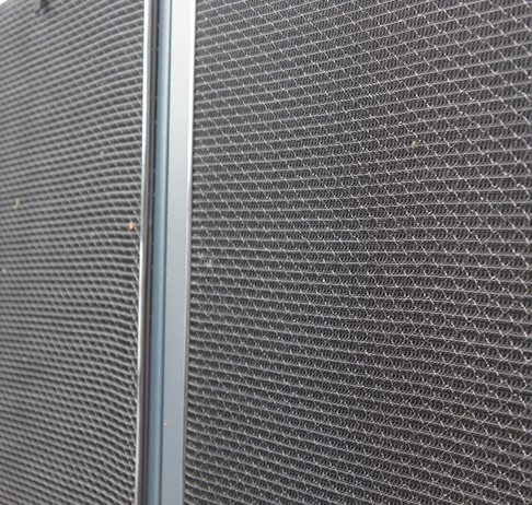 RABScreen model R magnetic framed air intake filter screens on a Geoclima supermarket chiller