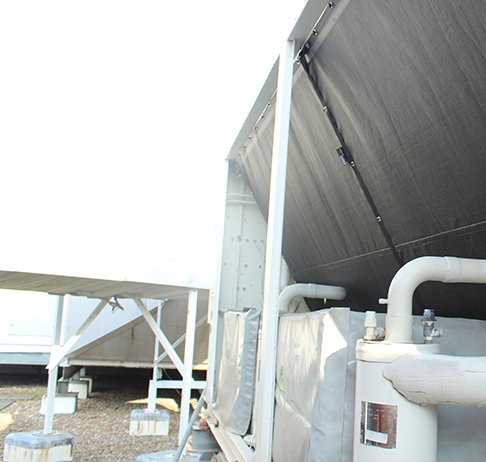 RABScreen coil protection air intake screens on a Trane chiller