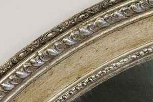 Silver Finish  This is an example of a dark antique silver finish on our Piecrust Oval mirror.