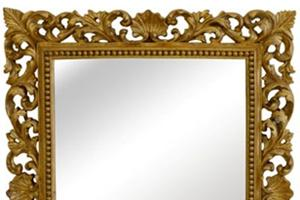 Florentine Mirror £660.00  This is a very pretty mirror which would suit most situations and surroundings. This mirror can be gilded either gold or silver or a paint finish.  width 40' x height 49'