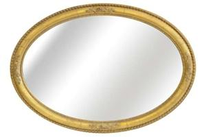 """The Rosebud Oval Mirror £510.00  This generously proportioned oval mirror frame can be hung either portrait or landscape.  The centre of the frame can be hand gilded or with a paint finish to match any existing colour scheme.  As pictured Width 28""""  Height 41"""""""