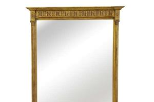 New York Fern Mirror £880.00  A delicate columned pier mirror with Corinthian capitals and a fern frieze.  This design also can be made in a landscape format for use as an overmantel mirror.  The top panel can be painted to suit any decor   Height 48'  Base width 36' ,(122cm x 90cm)