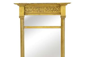 """Canterbury Pier £350.00  Our Canterbury Pier features a  delicate columned mirror with ionic capitals and a delightful cherub frieze.  Size 14"""" x 24"""" only"""