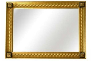 Barley Twist Mirror £810.00  This is a beautiful mirror, it can be made in hand gilded gold or silver finish or for an equally stunning look we can use a paint finish in the centre scoop of the mirror with the bright gilded inner twist on top.  Can be supplied with or without corner tablets example size 24' x 36' though can be made to any size.
