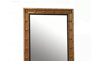 The Brighton Mirror £750.00  This is a lovely frame copied from an original hanging in the Royal Pavillion in Brighton.  Two widths of gilded bamboo enclose a concave frame 4 1/2' wide.  Can be gilded in either gold or silver and also with or without balls and black reeded slip frame, this mirror always looks particulary impressive when fitted with bevelled mirror plate.     Example size Width 24' x Height 36'