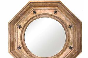 Octagonal Convex £1,175.00  This is a very traditional mirror, the reeded outer frame and star decoration emphasize the octagonal form of the mirror, and is typical of the late 18th Century.  The size available is 30' x 30' optional black of gilded star decoration is £30.00 extra