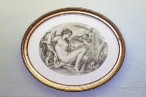 Bartellozzi sepia print in oval gilt frame . size 20x25cms. £35.